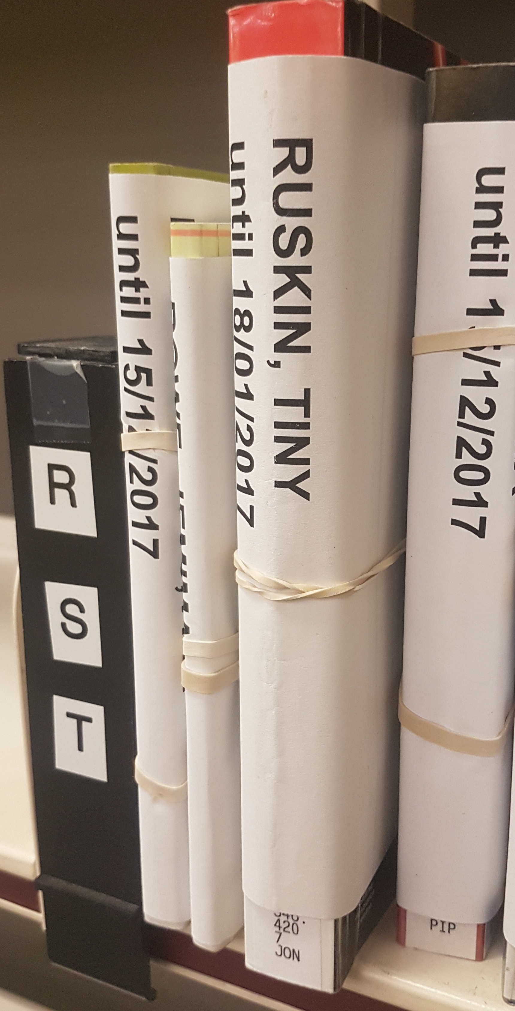 Photo of books on the reservation shelf