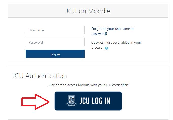 JCU Moodle login