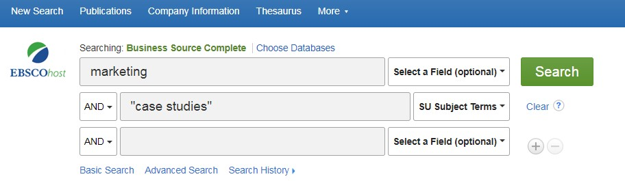 "Screen shot of the Business Source Complete search box showing search terms Marketing AND ""case studies"""