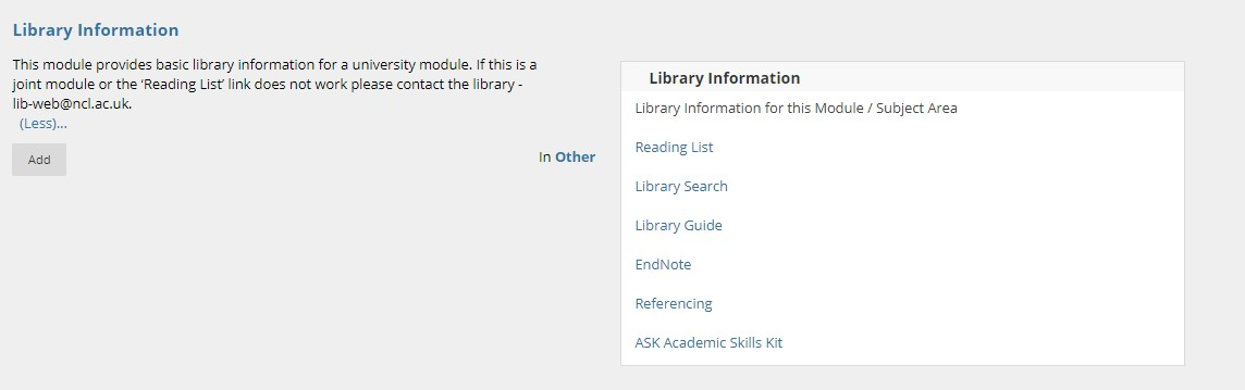 An image of the Library Information box on Blackboard's Overview page.