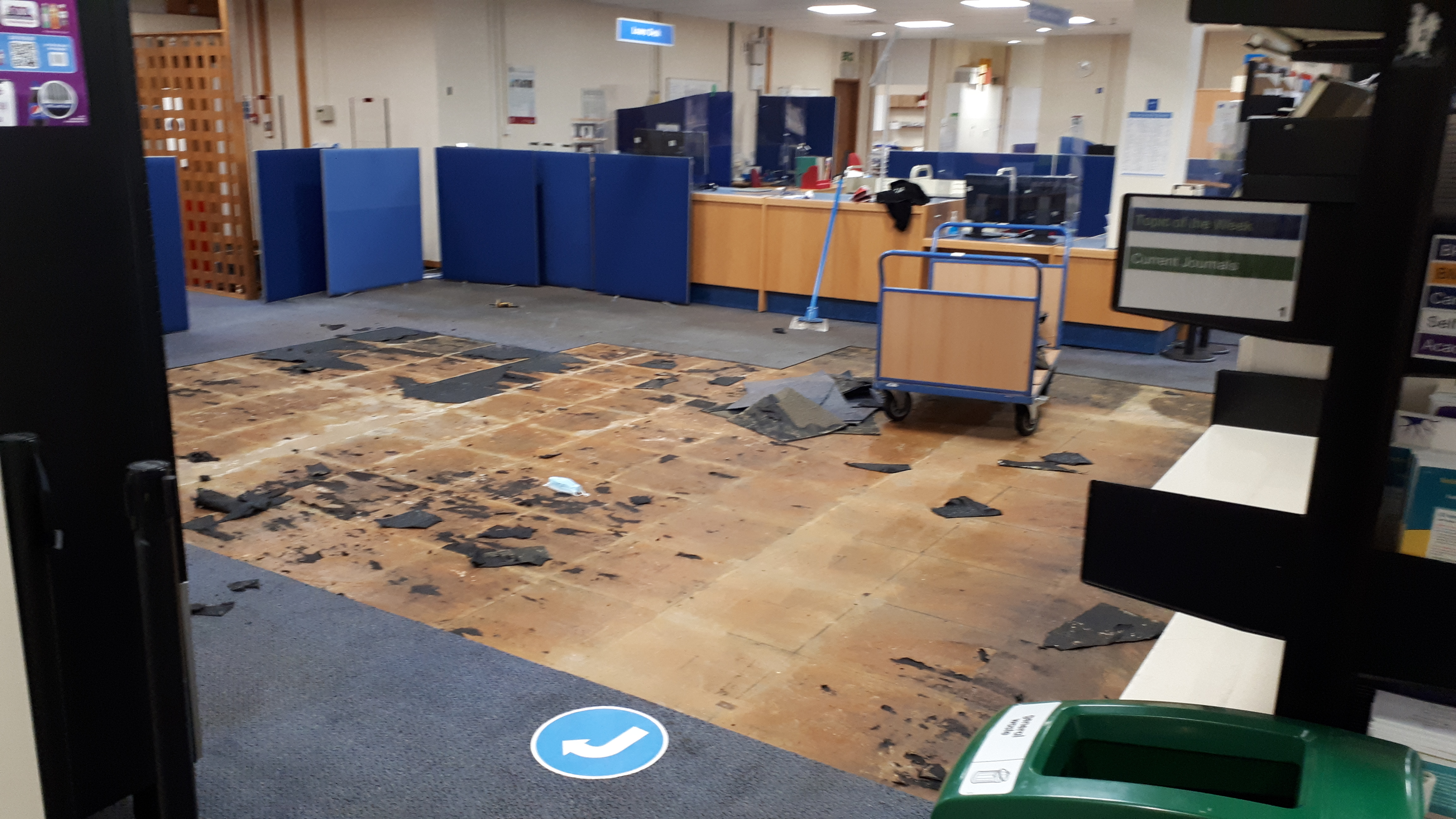 HSL with some of the damaged carpet tiles removed, showing the wet floor underneath
