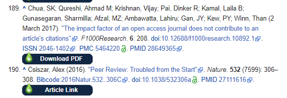 Screenshot of the references section from a Wikipedia page showing LibKey Nomad 'Download PDF' links