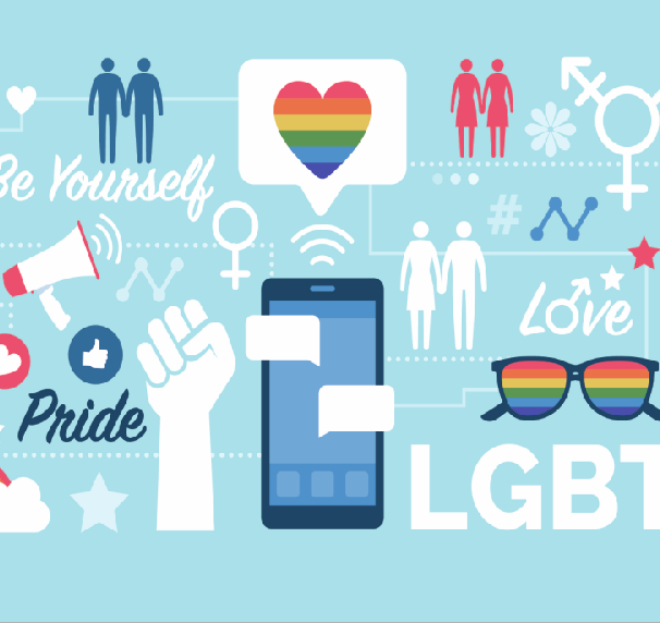 Decorative image including a rainbow heart, cartoon silhouettes of people holding hands and the transgender symbol. All images used with permission from IStock