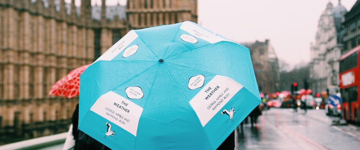 Image of blue 'Pelican Books' umbrella against rainy backdrop of the Houses of Parliament