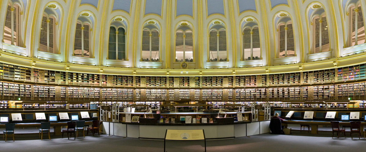 Image if the interior of the British Library reading rooms.