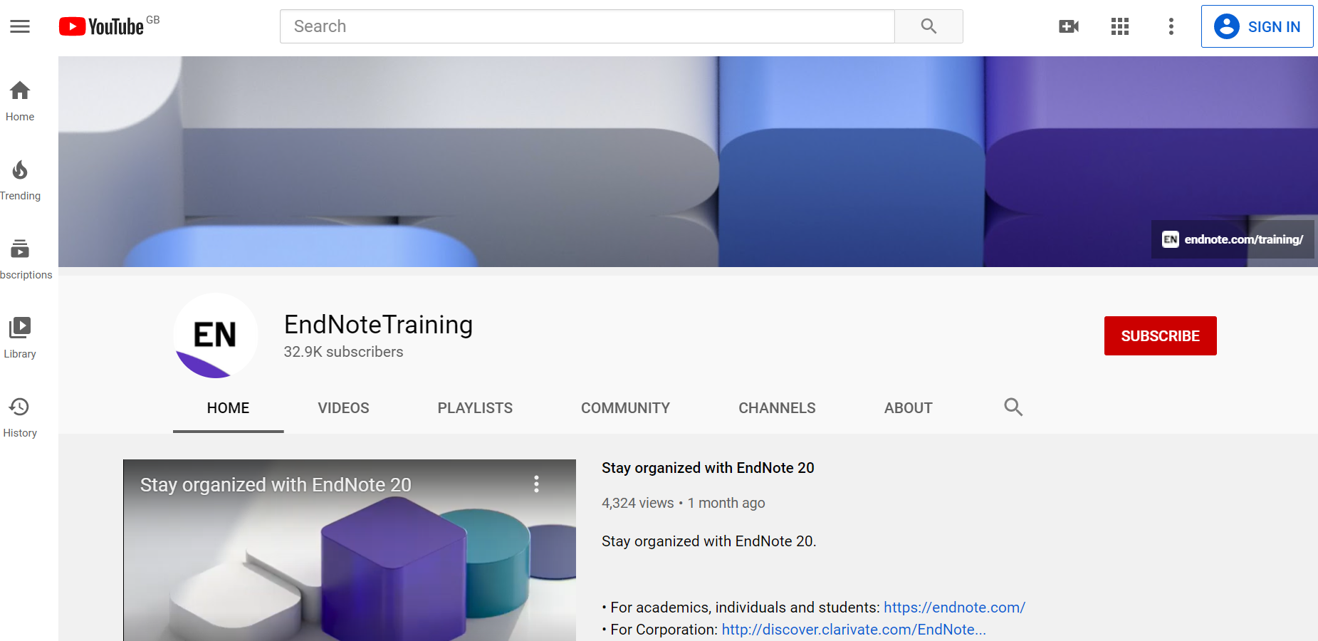 EndNote YouTube channel