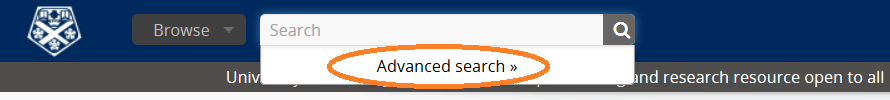 Advanced search on archive catalogue