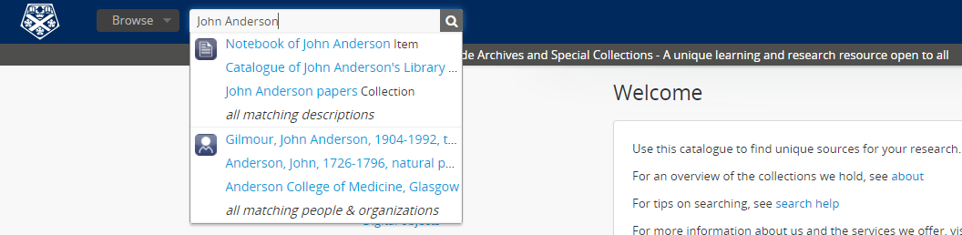 Example search on Archive catalogue for John Anderson