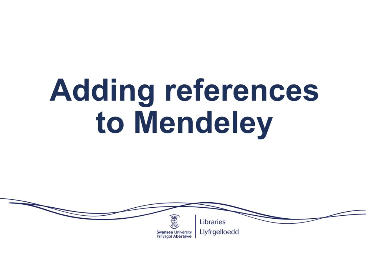 screenshot and link to adding references in mendeley video