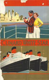Cunard White Star poster 1930s, showing passengers on deck and the RMS Queen Mary