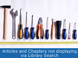 Picture of row of tools and error message indicating Articles and Chapters not displaying via Library Search