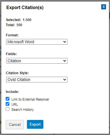 Word citation export option