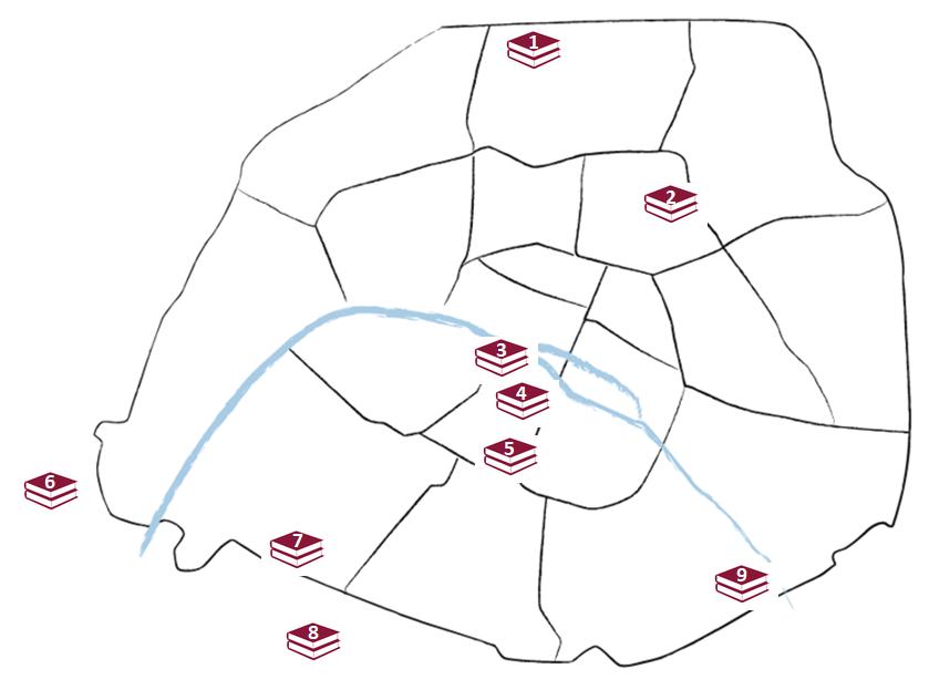 Carte des bibliothèques d'Université de Paris accueillant les étudiants du PASS et des licences Accès Santé