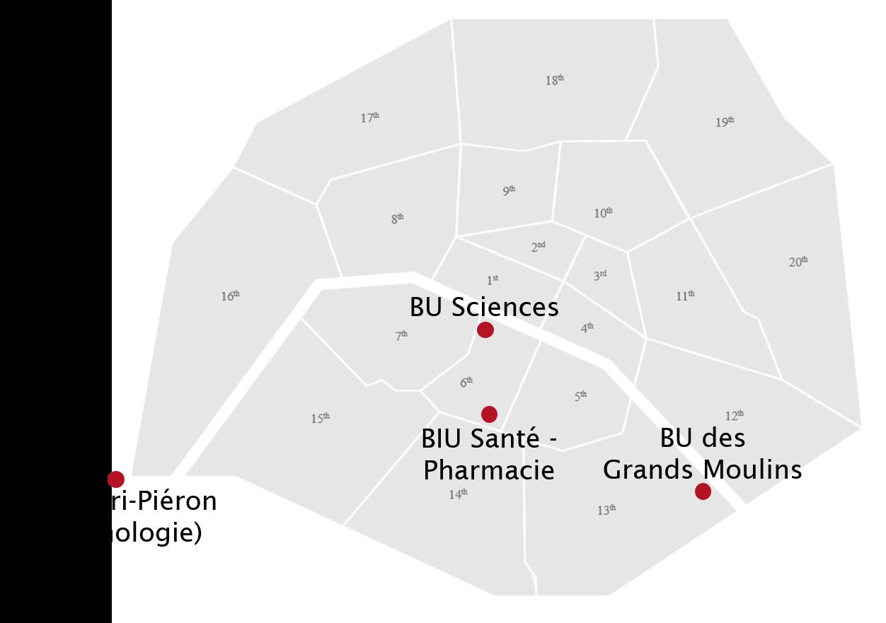 carte des principales bibliothèques intéressant les étudiants de sciences biomédicales