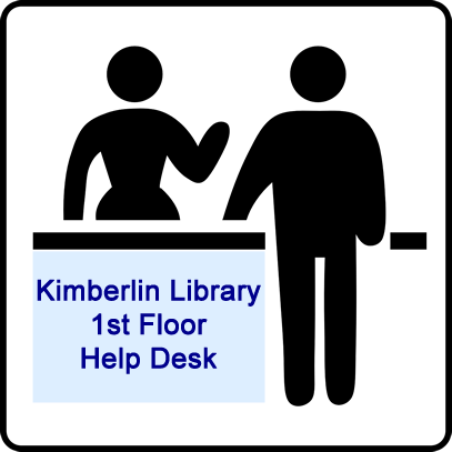 Cartoon image advertising the first floor help desk in the kimberlin linbrary