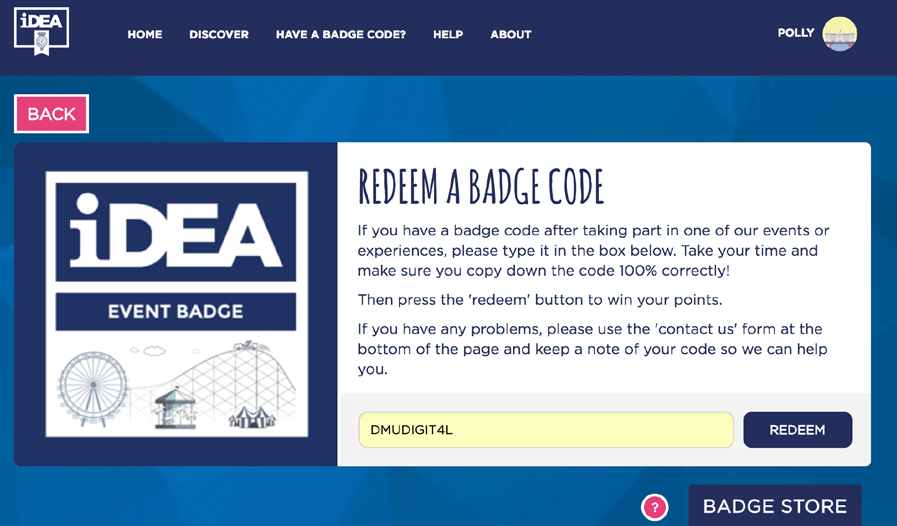 image of the redeem a badge code page