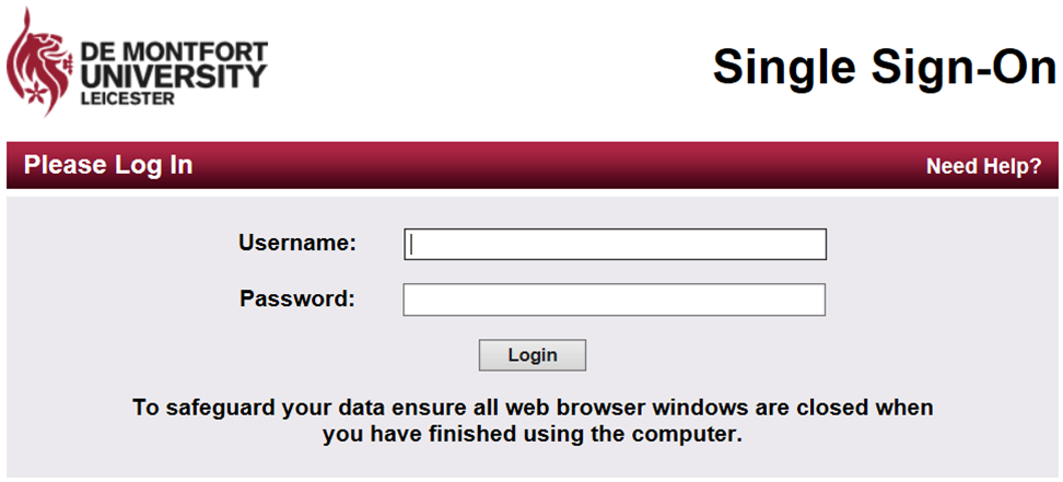 Image of the log In page for university services, the single sign on