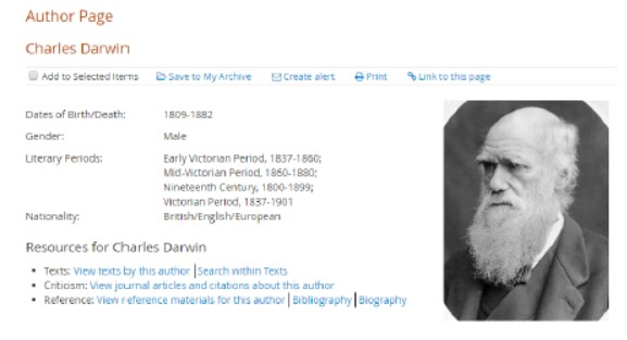 Author page for Charles Darwin
