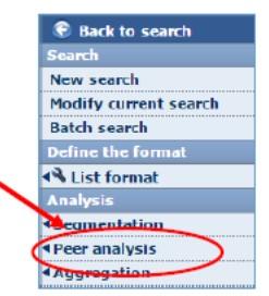 Screenshot of Osiris with Peer analysis button circled