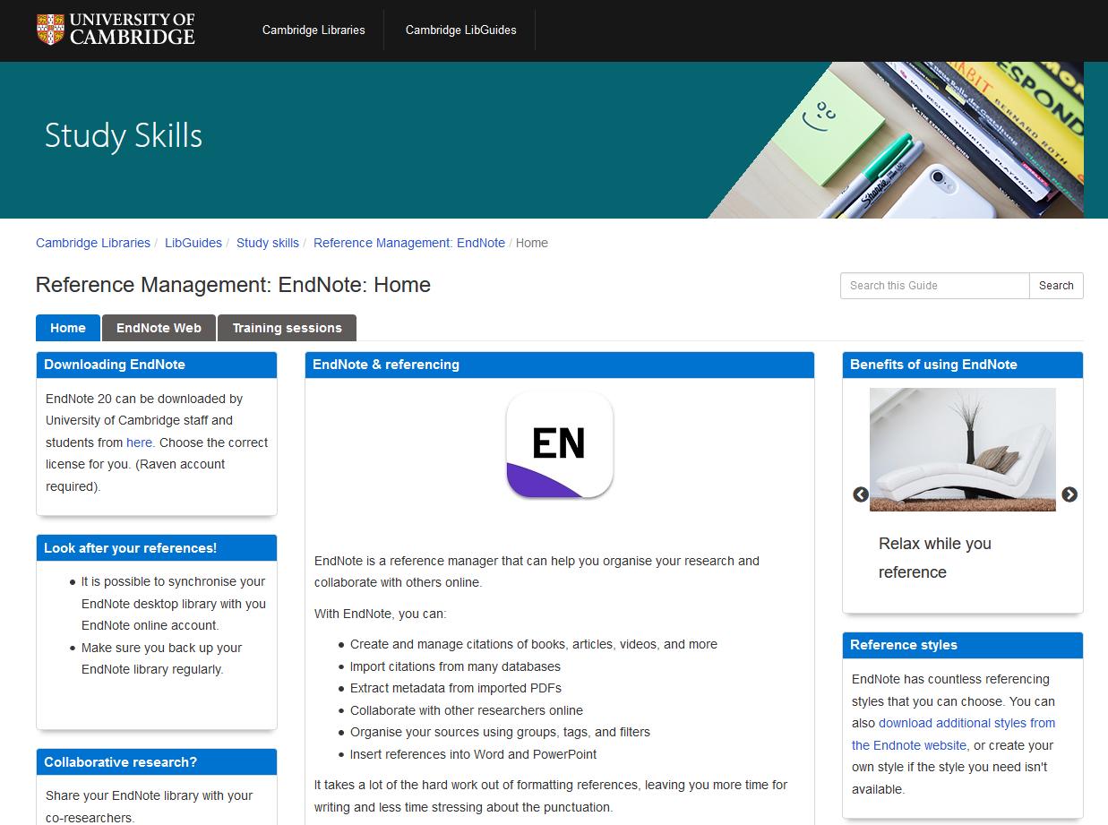 Screenshot of Endnote Libguide