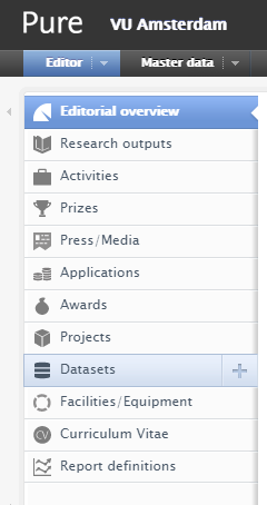 Screenshot: adding a dataset to your PURE profile