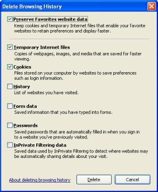 "Internet Explorer ""Delete browsing history"" dialogue bopx showing the ""Temporary Internet Files"" and ""Cookies"" options checked for deletion and the ""Preserve Favourites website data"" checked."