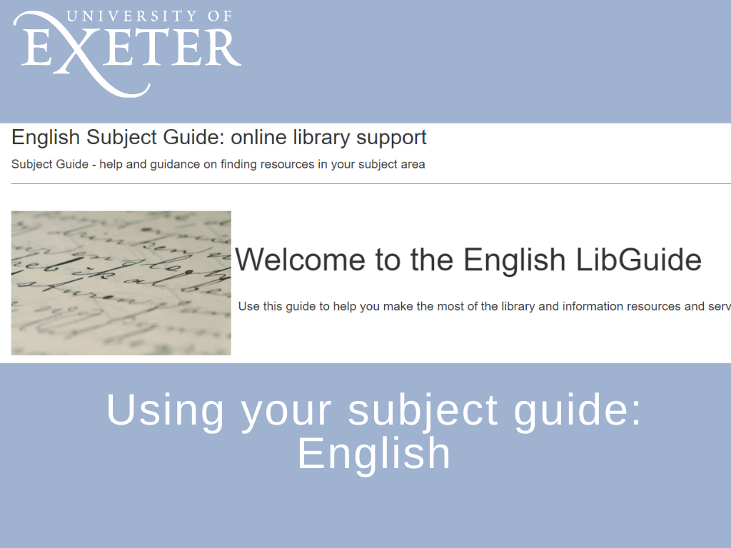 Using your subject guide