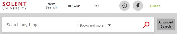 screenshot of library catalogue search box