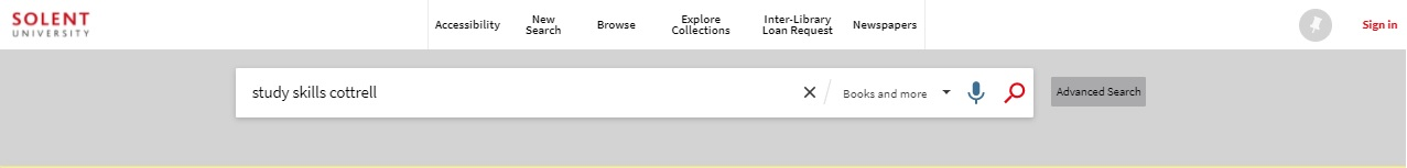 Library catalogue books and more search screen