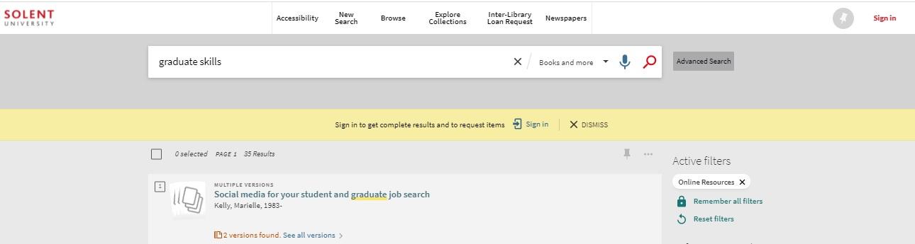 Library Catalogue ebooks search screen