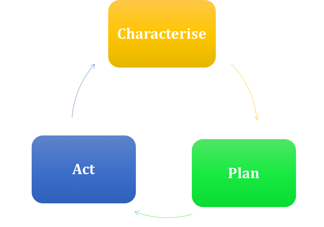 diagram of logical preservation workflow from characterising your data, planning what to do with it and acting on it