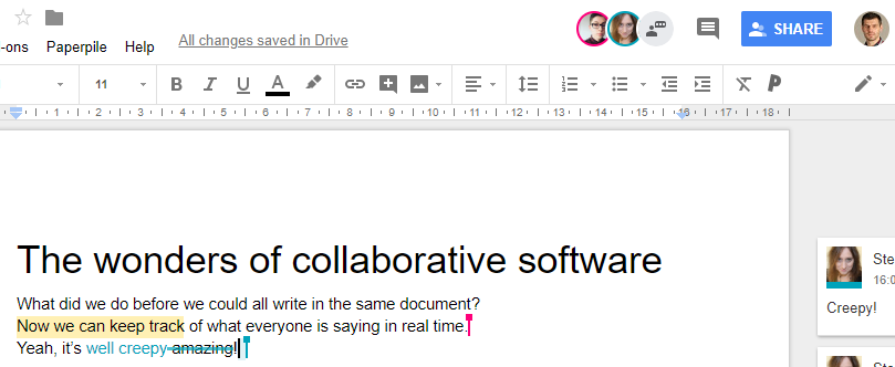Multiple people working in a Google Doc at once making changes in real time