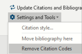 Screenshot of using the Paperpile tab to choose Remove Citation Codes'