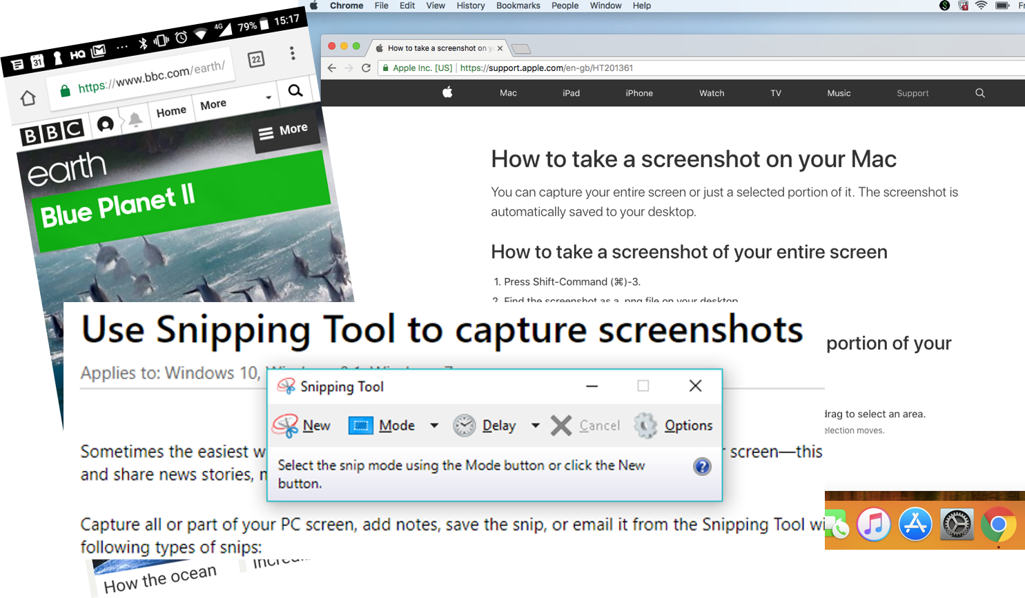 Examples of screenshots on Windows, Mac, and Android