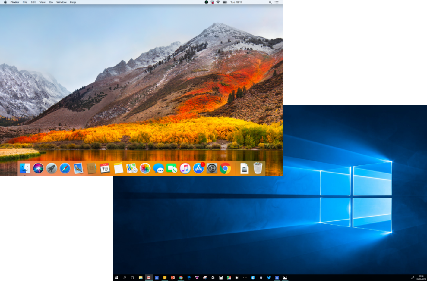 The default desktops of Mac and Windows operating systems