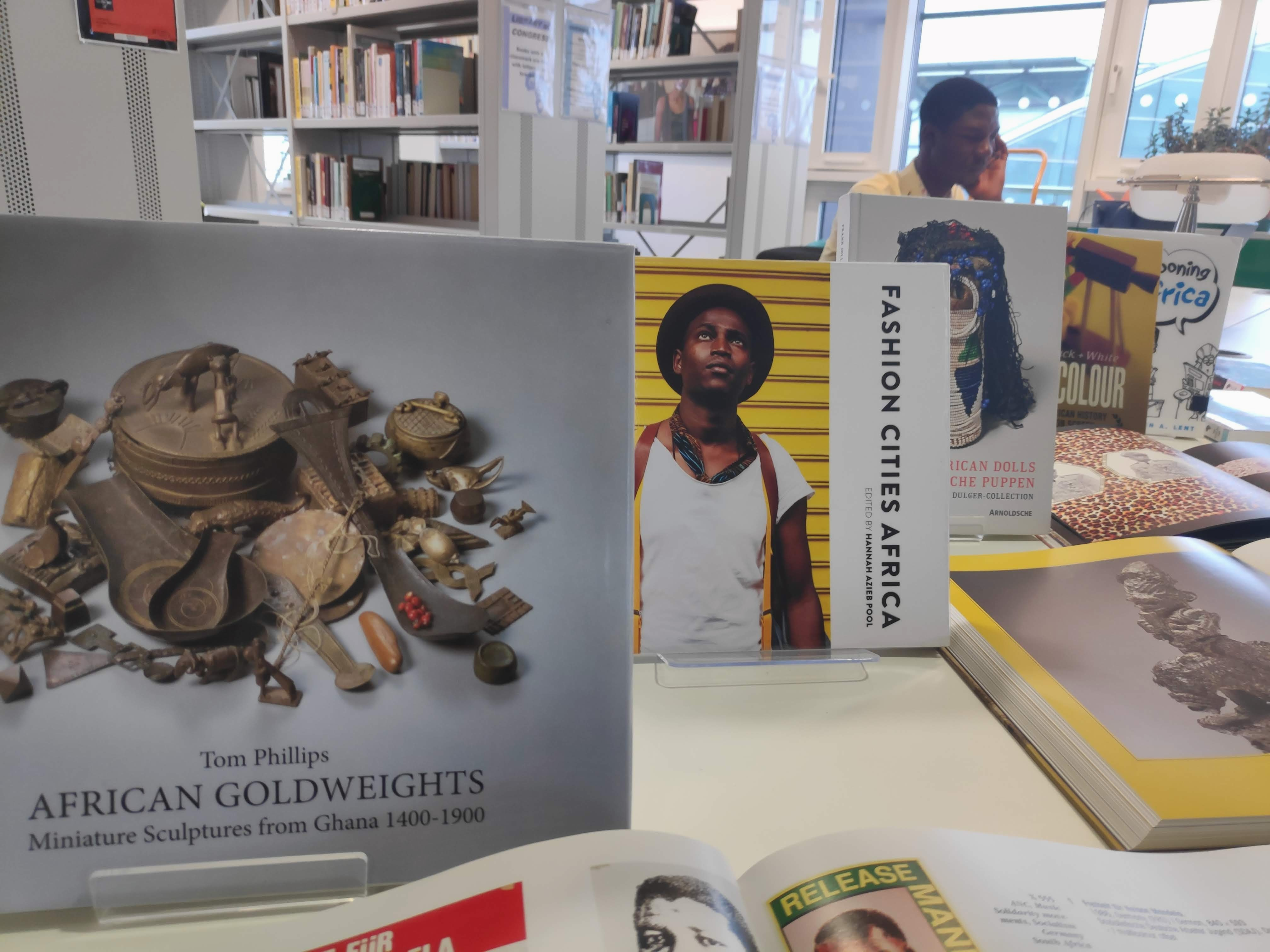 Black History Month display with storyteller, African Studies Library
