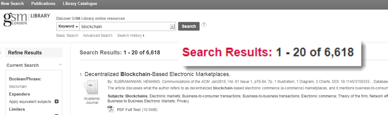 blockchain discovery search results