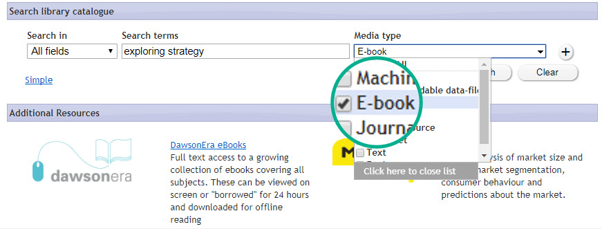 ebook discovery search example