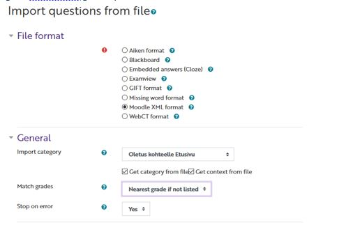 schreenshot:import questions from file