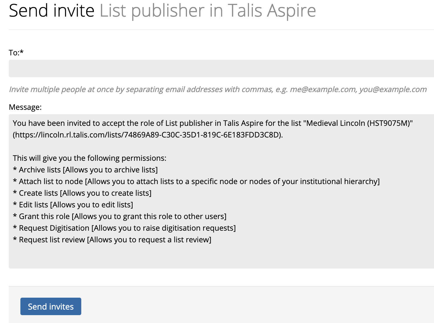 Screenshot of the send invite screen in Talis Aspire Reading Lists