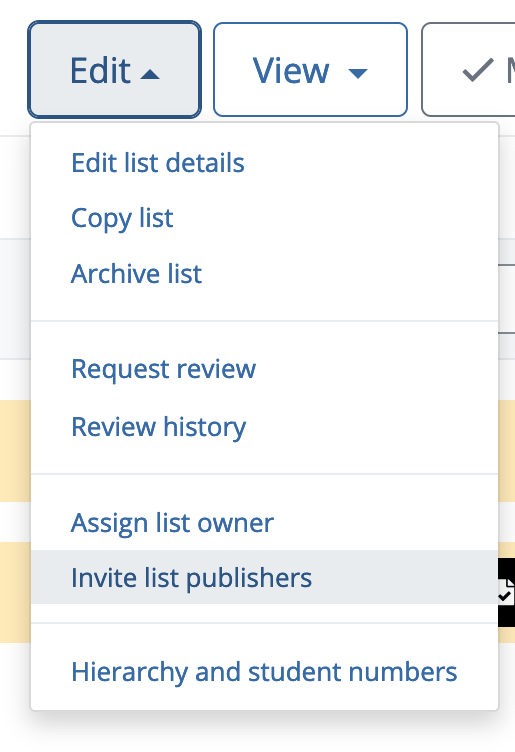 Screenshot of the edit menu in Talis Aspire Reading Lists