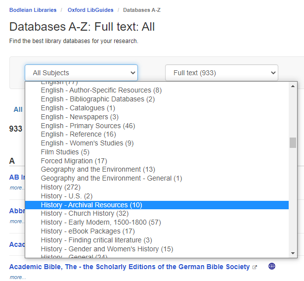 Databases search screen