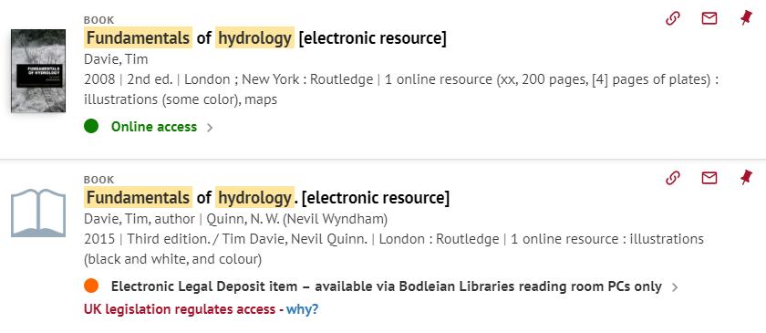 E-book results screen