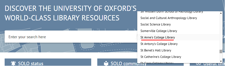 SOLO search screen