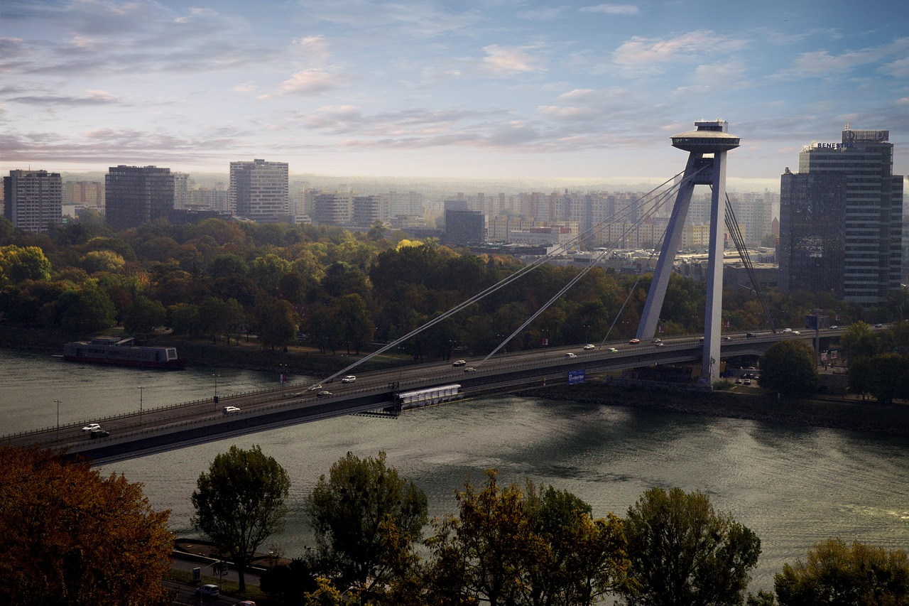 Photograph of the New bridge (SNP bridge) in Bratislava