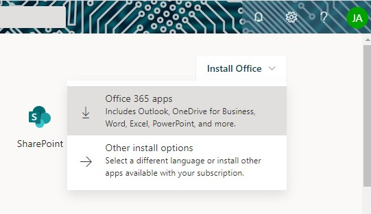 Click Install Office then select Office 365 Apps to start download