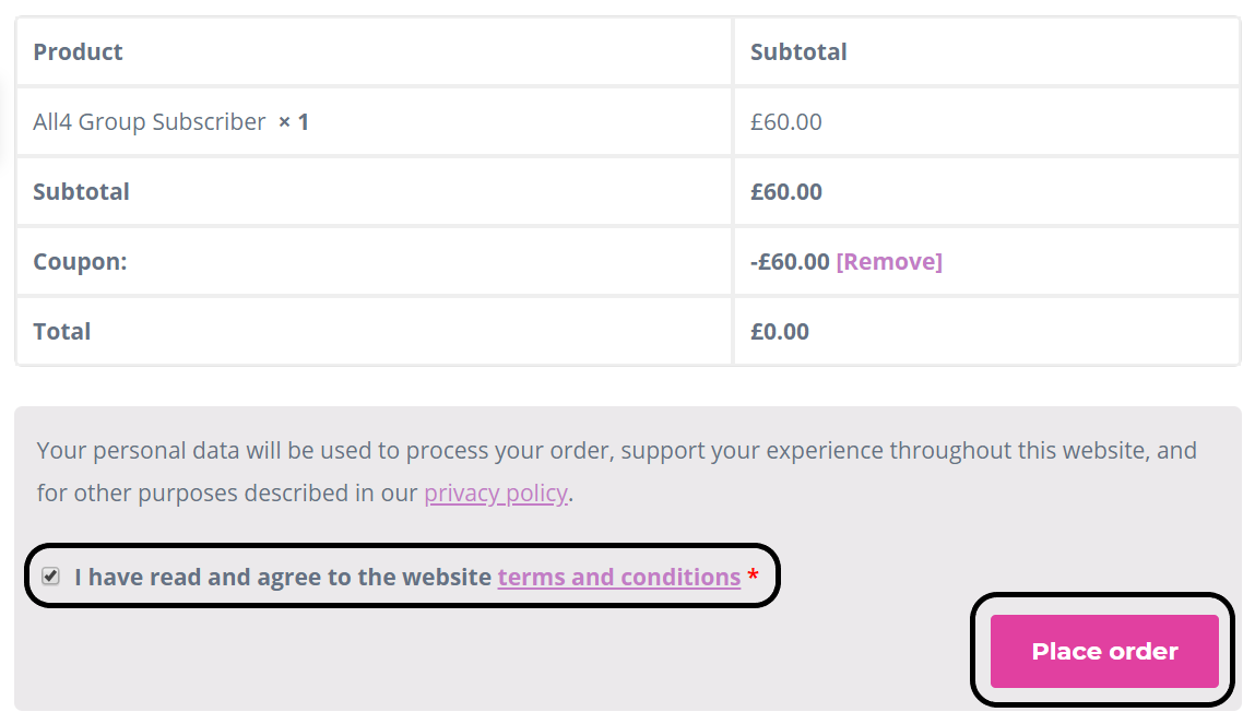 Checkbox for acceptance of terms and conditions and option to place order