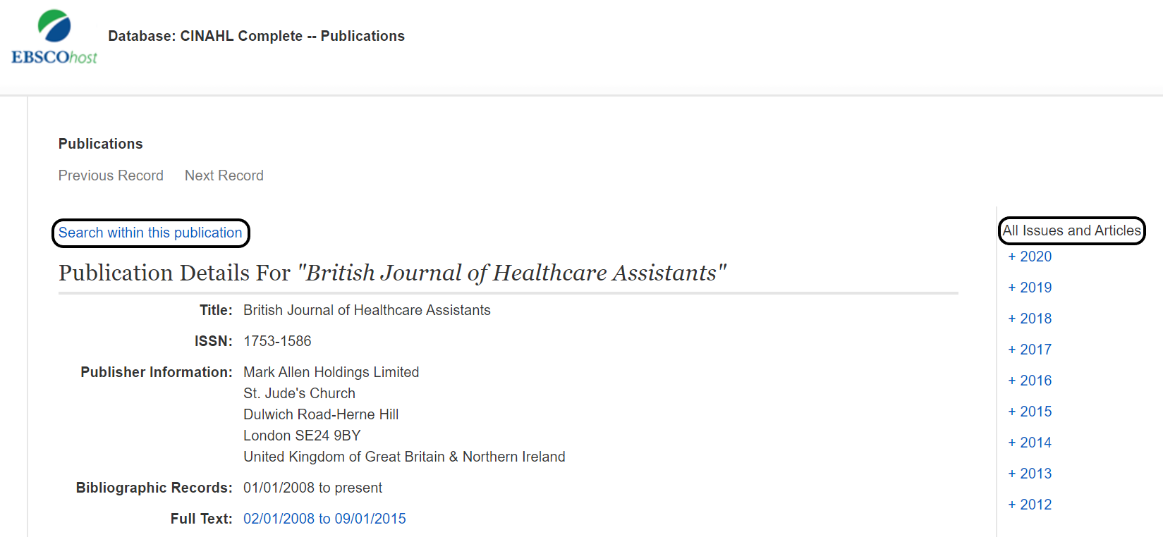 EBSCOhost's search journal and browse issues and volumes in CINAHL Complete