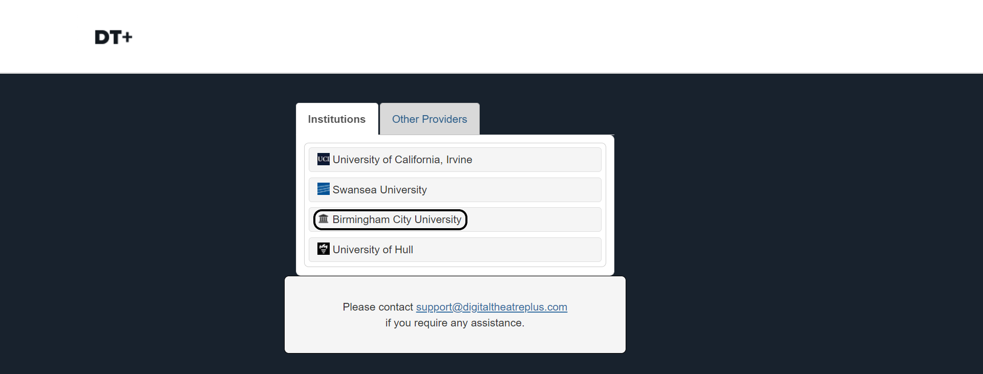 Select Birmingham City University as the institution