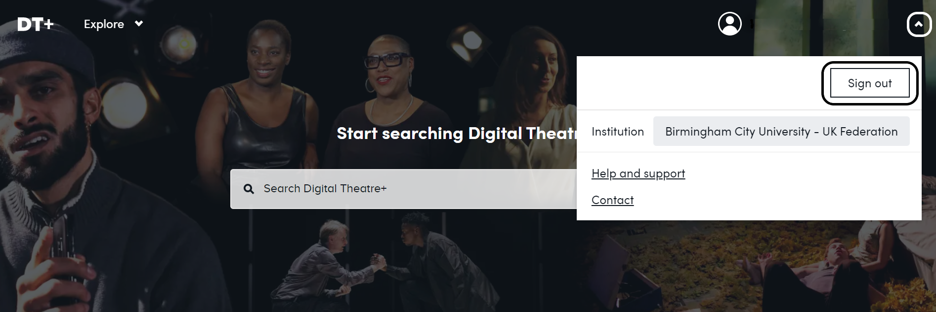 Option to sign out of Digital Theatre Plus